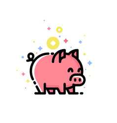 Cute pink pig isolated on white background vector