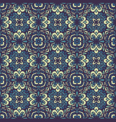 damask floral blue seamless tiles design vector image
