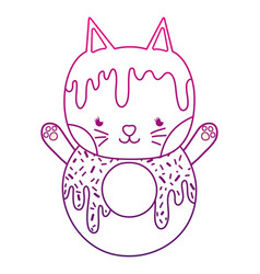 degraded outline kawaii cute cat donut food vector image