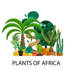 Desert flowers Exotic plant bush palm tree vector image