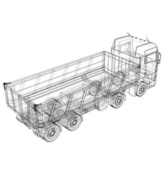 Dump truck sketch isolated on white background vector