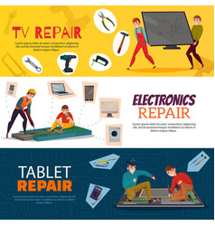 Electronics repair banners set vector