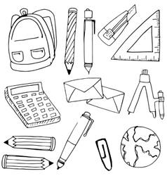 Element school hand draw in doodle vector