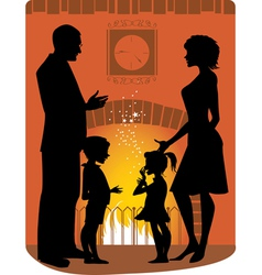Family by the fireplace vector