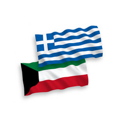 Flags greece and kuwait on a white background vector