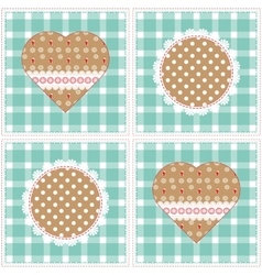 Floral background decorative patchwork hearts vector image