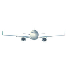 Flying airliner isolated on white front vi vector