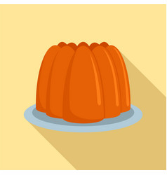 fresh brown cake on plate icon flat style vector image