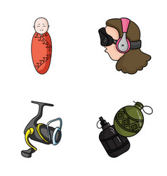 Game fishing and other web icon in cartoon style vector