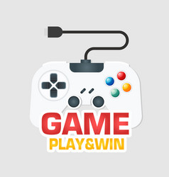 game play win white joystick icon image vector image