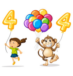 Girl and monkey with balloon number four vector