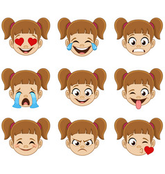girl face emoji expressions vector image