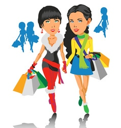 Girls and Shopping vector