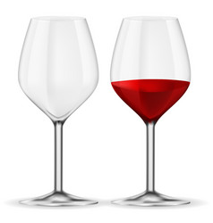 Glass of red wine empty and full vector