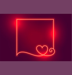 Glowing creative neon heart frame with text space vector