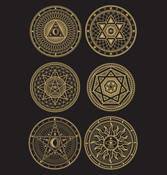 Golden occult mystic spiritual esoteric vector