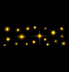 golden star shine effects yellow flash lights vector image
