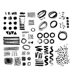 Hand-drawn brush raw textured shapes black ink vector