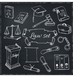 Hand drawn law symbols set vector
