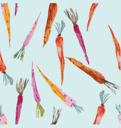 Hand painted watercolor carrots on blue background vector