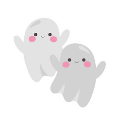 happy halloween cute ghosts cartoon character vector image
