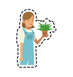 happy person with plant icon image vector image