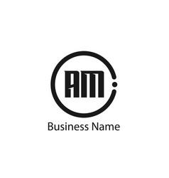 Initial letter am logo template design vector