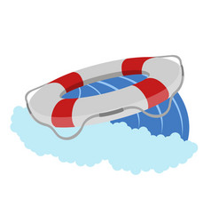 isolated lifesaver on a wave icon vector image