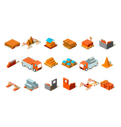Isometric details of construction cargo cars vector