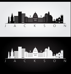 jackson usa skyline and landmarks silhouette vector image