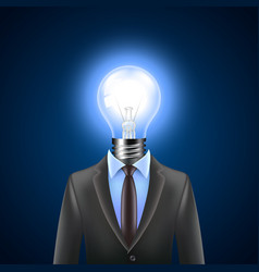 Lamp-head businessman idea concept vector