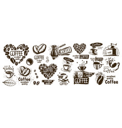 Large set drawn logos and coffee vector