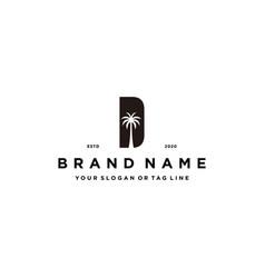 Letter d palm logo design concept vector