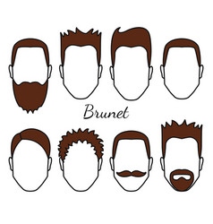 Male brunet hair and face fungus styles types vector