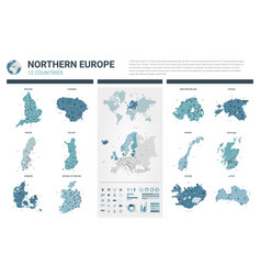 Maps set high detailed 12 maps northern europe vector