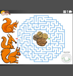maze educational game with squirrels and walnuts vector image
