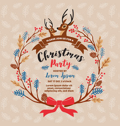 merry christmas party invitation card design vector image