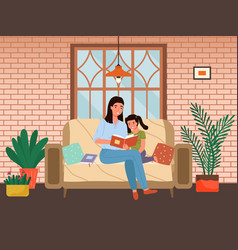 Mom telling fairy tales to her daughter at bed vector
