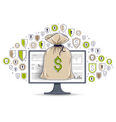 money bag over computer monitor and shield icons vector image