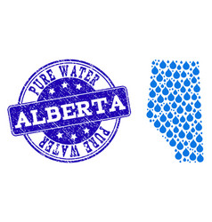 Mosaic map of alberta province with water tears vector