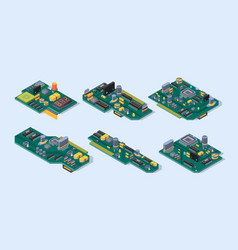 Motherboard isometric computer manufacturing vector
