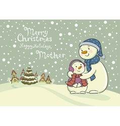Mum the snowman cares of her child vector image