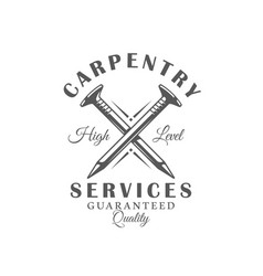 Nails modern carpentry label vector