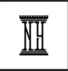 Ny logo monogram with pillar shape design template vector