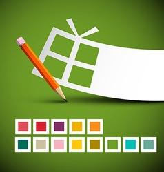 Paper Gift Box and Pencil with Colorful Squares on vector image