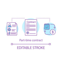 Part-time contract concept icon legal agreement vector