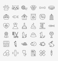 Pet vet line icons set vector