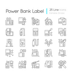 power bank usage linear manual label icons set vector image