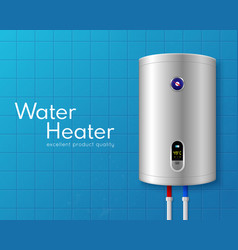 Realistic electric water heater boiler poster vector