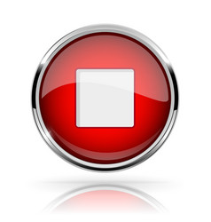 Red round media button stop button shiny icon vector